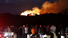 Shuri Castle, listed as a World Heritage site, goes up in flames, in Naha on the southern island of Okinawa, Japan